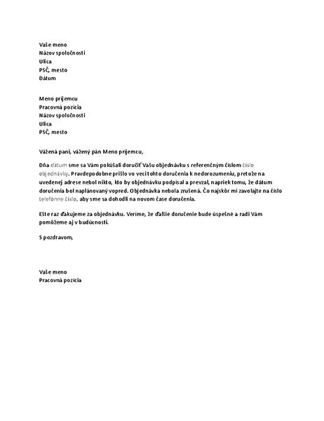 List informujúci zákazníka oneúspešnom doručení zásielky