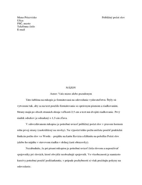Formát rukopisu príbehu