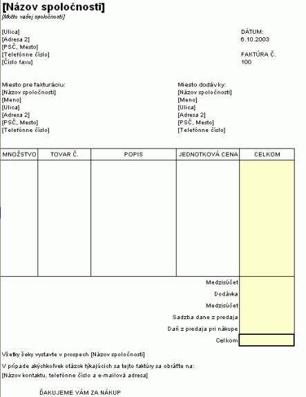 Faktúra z predaja s číslami položiek