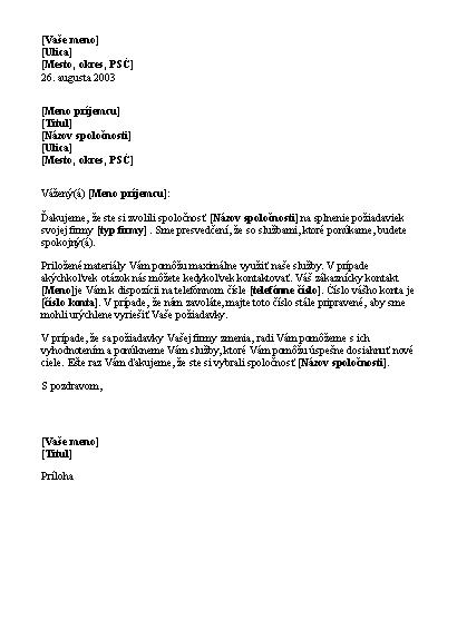Úvodný list novému klientovi