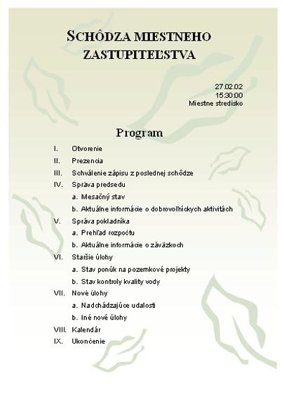 Program schôdze miestneho zastupiteľstva