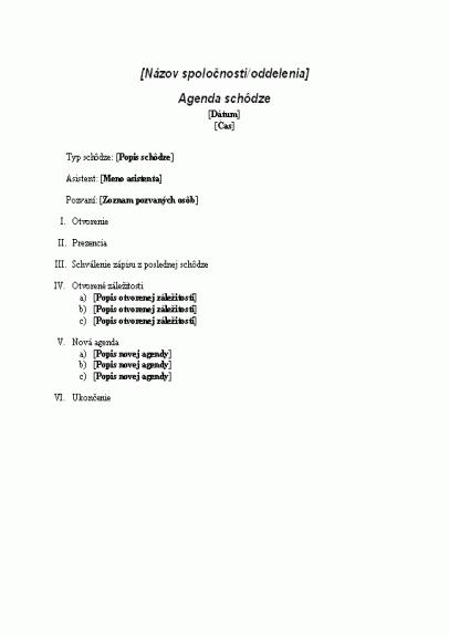 Agenda pre formálnu schôdzu