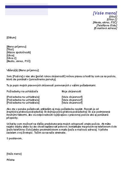Sprievodný list s požiadavkou na plat (Motív Modrá čiara)