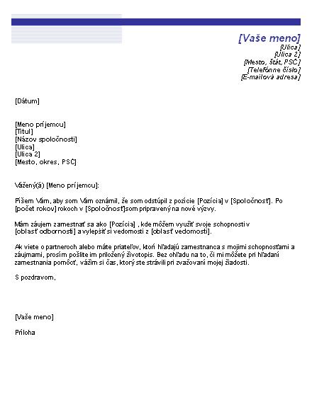 List oznamujúci hľadanie zamestnania (Motív Modrá čiara)