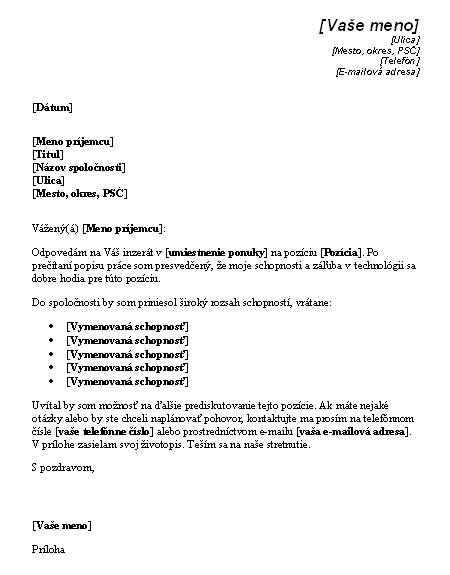 Sprievodný list odpovedajúci na inzerát s ponukou na technickú pozíciu