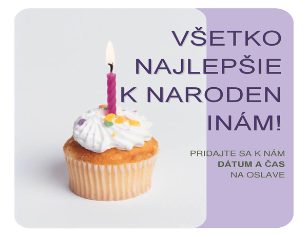Pozývací leták na narodeniny (so zdobeným mafinom)