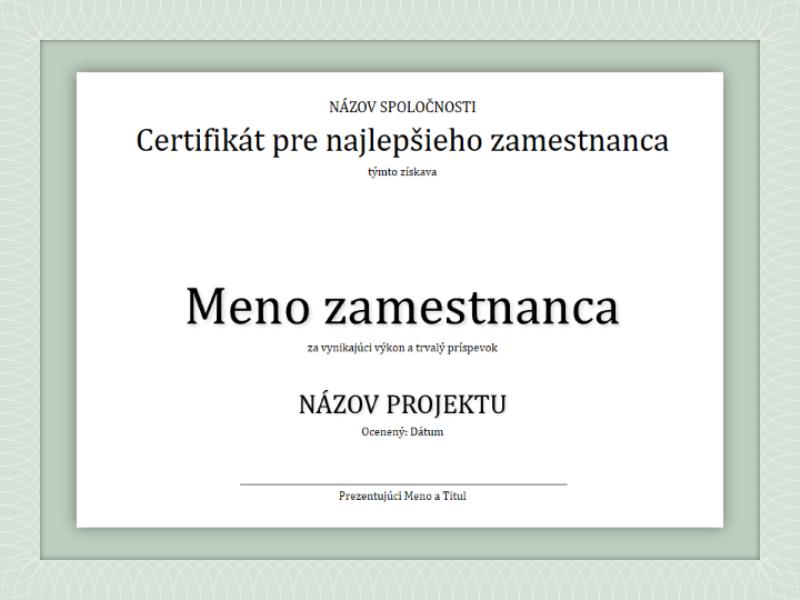 Certifikát pre najlepšieho zamestnanca