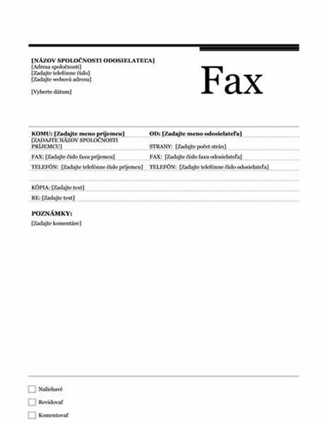 Úvodná strana faxu (zdvorilý vzhľad)