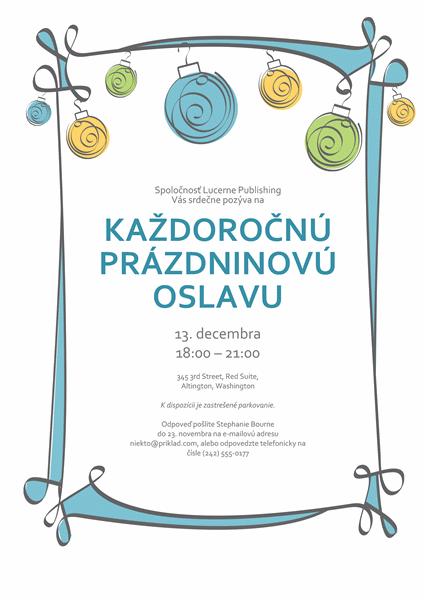 Pozvánka na prázdninovú oslavu s modrými, zelenými a žltými ornamentmi (neformálny dizajn)