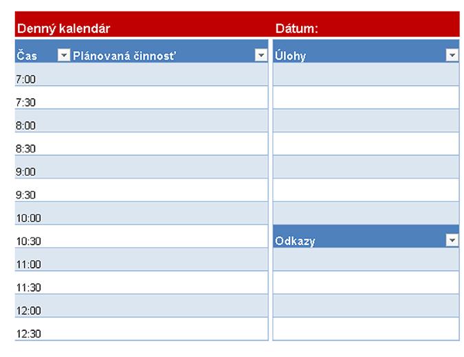 Prázdny denný kalendár