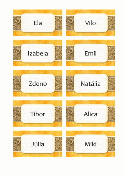 Pohľadnice s menom alebo miestom (dizajn so slnkom a pieskom, 10 na stranu)