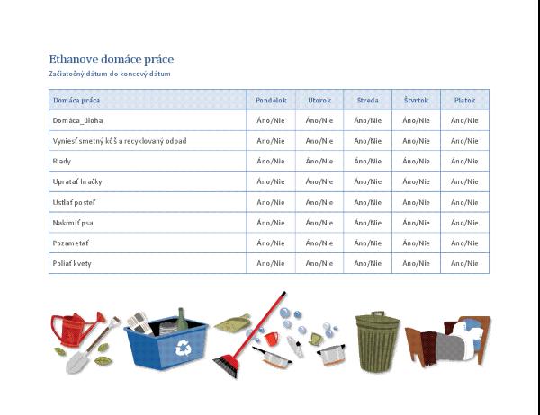 Kontrolný zoznam domácich prác pre dieťa