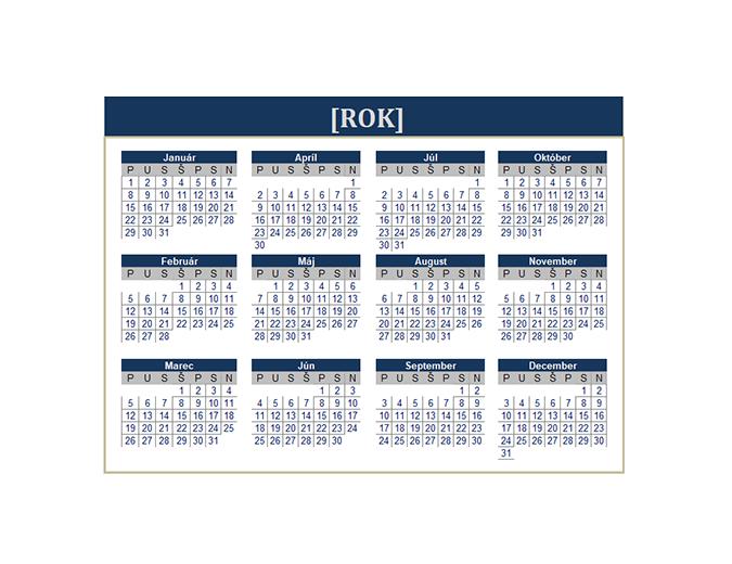 Kalendár (ľubovoľný rok)