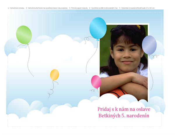 Fotografická pozvánka na večierok (dizajn s balónmi, preložené napoly)