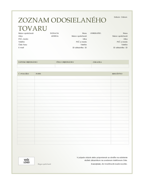 Zoznam odosielaného tovaru (návrh so zeleným prechodom)