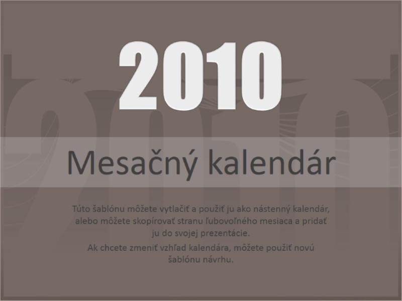 Kalendár na rok 2010 (Po - Ne)