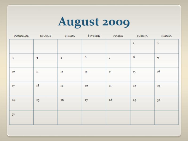 Vysokoškolský kalendár na rok 2009/2010 (13 strán, pondelok až nedeľa)