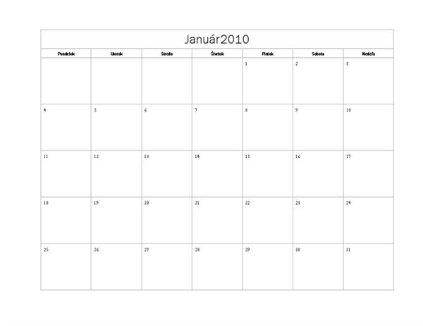 Kalendár na rok 2010 (základný dizajn, pondelok až nedeľa)