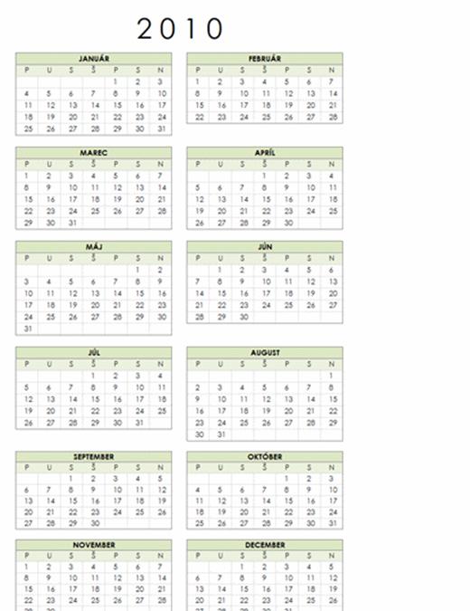Kalendár na rok 2010 (pondelok až nedeľa, 1-stranový, formát na výšku)