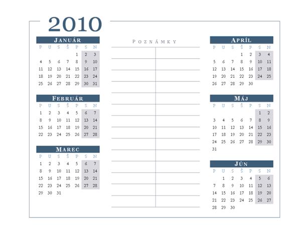 Kalendár na rok 2010 (pondelok až nedeľa, 6 mesiacov na strane)