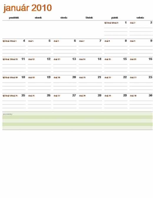 Juliánsky kalendár na rok 2010