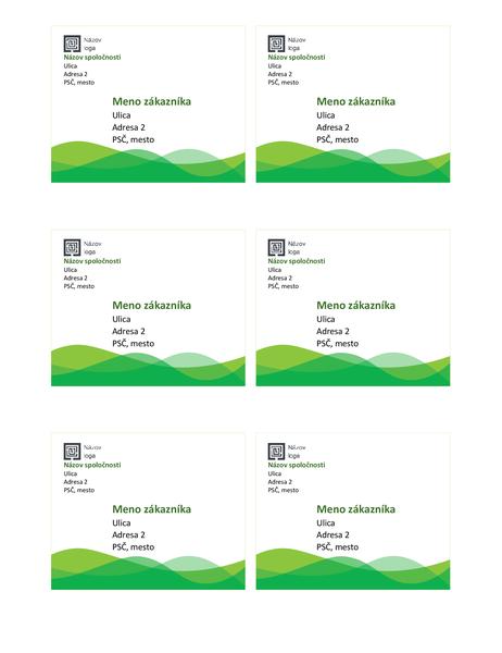 Poštové štítky (motív svlnami vzelenej farbe, 6 na stranu)