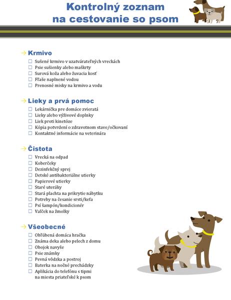 Cestovný zoznam pre psa