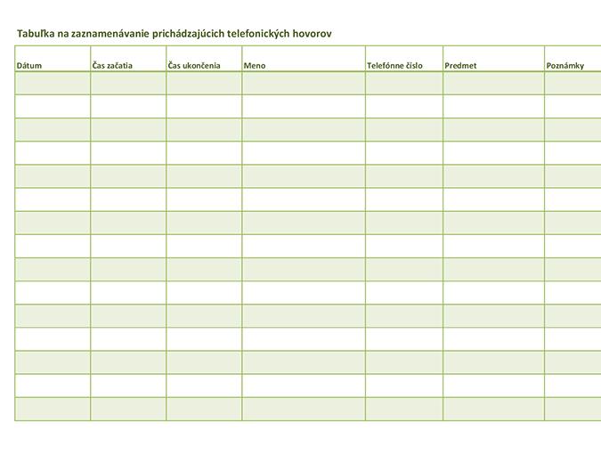 Tabuľka na zaznamenávanie (prichádzajúcich a odchádzajúcich) telefonických hovorov