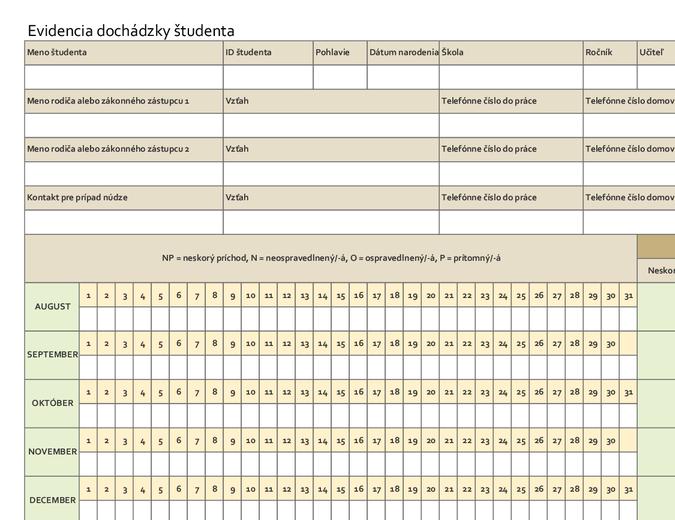 Evidencia dochádzky študenta (jednoduchá)