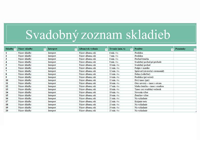 Svadobný zoznam skladieb