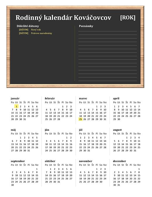 Rodinný kalendár (ľubovoľný rok, pondelok až nedeľa)
