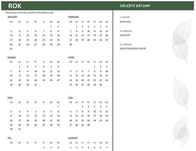 Obchodný kalendár (ľubovoľný rok, po – ne)