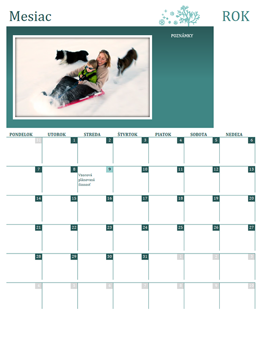Rodinný kalendár, ročné obdobia (akýkoľvek rok, pondelok až nedeľa)