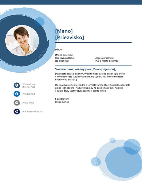 Motivačný list s modrými kruhmi