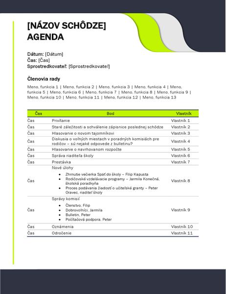 Agenda vzdelávacej schôdze
