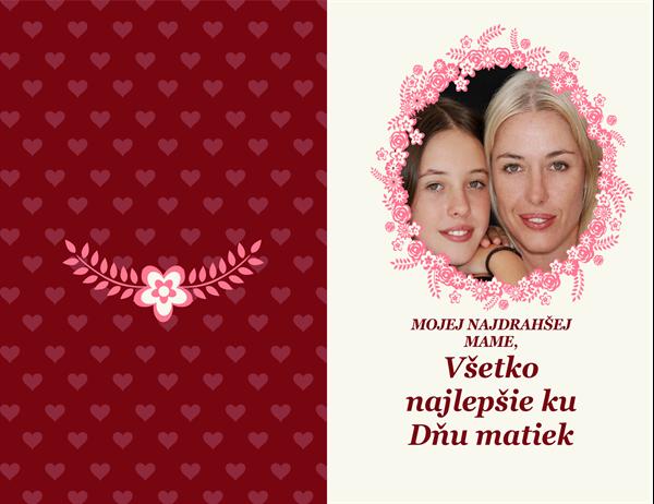 Karta ku Dňu matiek s kvetinovým orámovaním