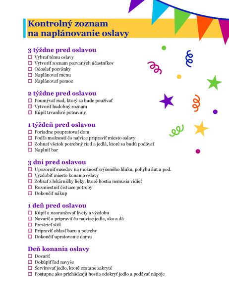 Kontrolný zoznam na naplánovanie oslavy