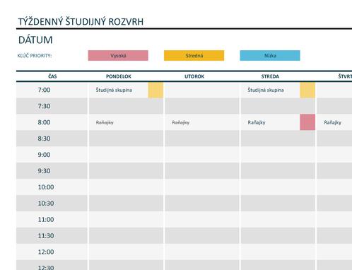 Týždenný plán študenta
