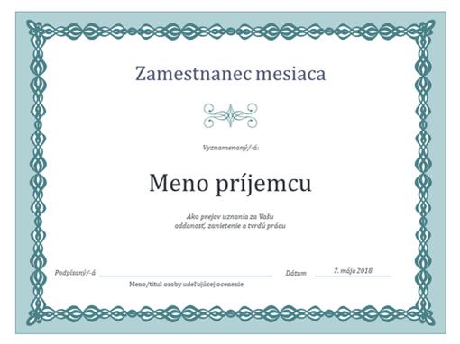 Certifikát pre zamestnanca mesiaca (návrh smodrou retiazkou)