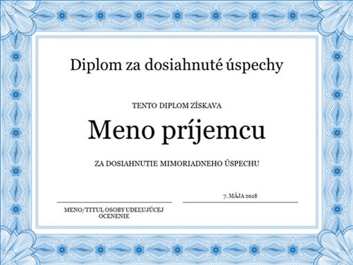 Diplom za dosiahnuté úspechy (modrý)