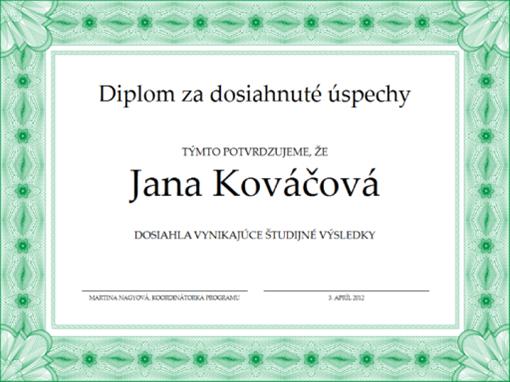 Diplom za dosiahnuté úspechy (zelený)