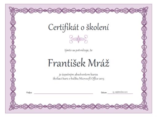 Certifikát o školení (návrh sfialovou retiazkou)