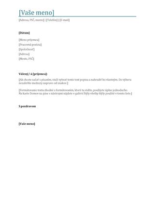 Sprievodný list životopisu