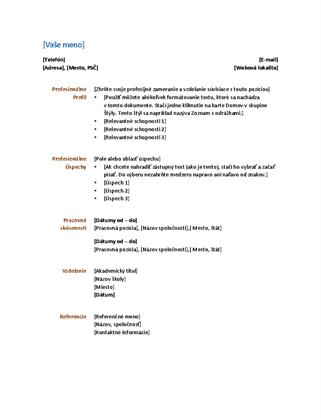 Životopis (funkčný návrh)