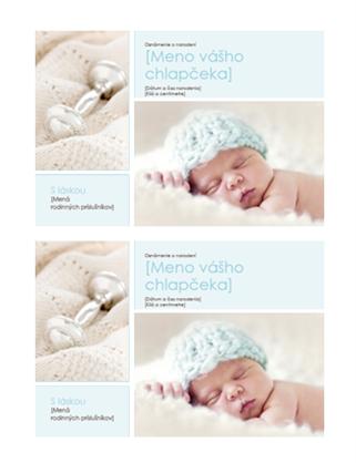 Oznámenie o narodení chlapčeka