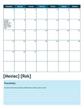 Mesačný školský kalendár (začiatočný deň pondelok)