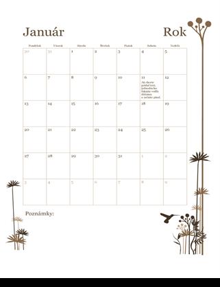 12-mesačný kalendár (pondelok až nedeľa)