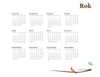 Ročný kalendár s vtákmi (pondelok až nedeľa)