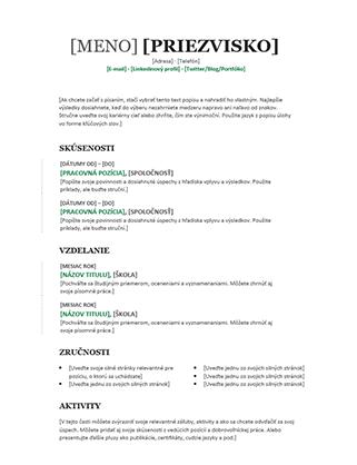 Chronologický životopis (moderný návrh)