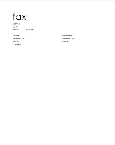 Titulná strana osobného faxu